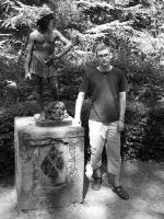 Oriol Sàbat with Verrocchio's David, Villa Combrone, Italy, summer 2008